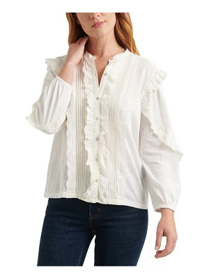 Lucky Brand ruffle button front top