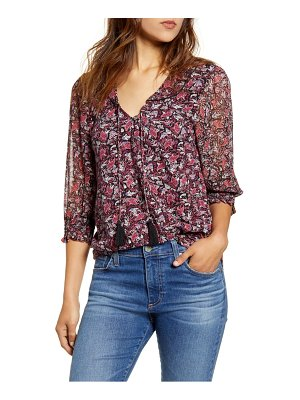 Lucky Brand tassel tie cotton blend blouse