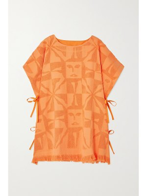 Lucy Folk beam fringed cotton-terry poncho