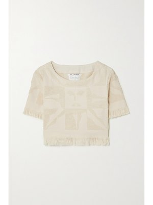 Lucy Folk playa fringed cotton-terry top