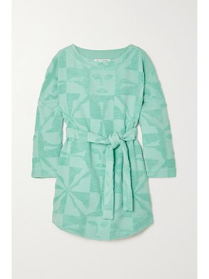 Lucy Folk sol belted cotton-terry mini dress
