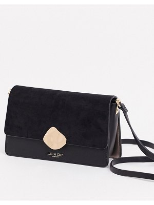Luella Grey luella gray cross body bag in black with contrast suede front flap and molten gold buckle
