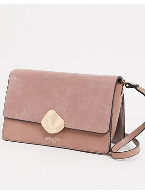 Luella Grey luella gray cross body bag in pink with contrast suede front flap and molten gold buckle