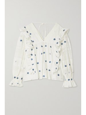 LUG VON SIGA carla ruffled embroidered lace-trimmed cotton-poplin blouse