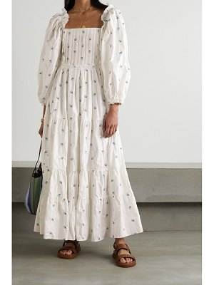LUG VON SIGA daphne tiered crocheted lace-trimmed embroidered cotton maxi dress