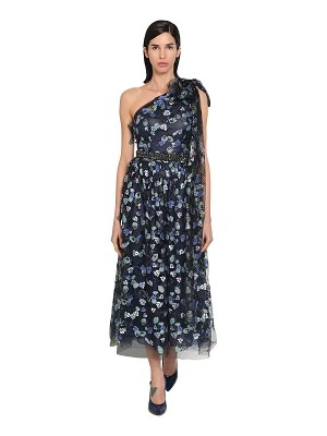 LUISA BECCARIA Embroidered one shoulder tulle dress