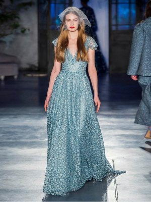 LUISA BECCARIA floral-embroidered tulle gown