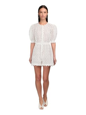 LUISA BECCARIA Linen eyelet lace romper