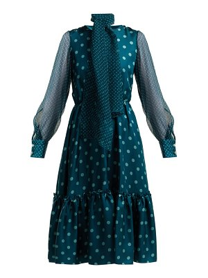 LUISA BECCARIA polka dot silk midi dress