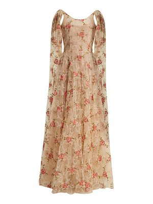 LUISA BECCARIA Scoop-neck floral-embroidered tulle gown