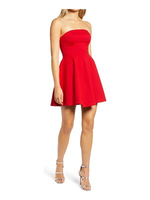 Lulus about a twirl strapless skater dress