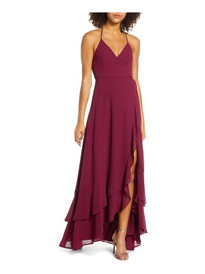 Lulus in love forever lace-up back chiffon gown
