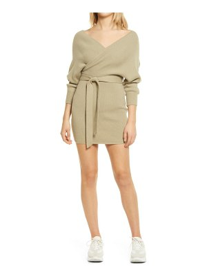 Lulus ribbed surplice long sleeve minidress