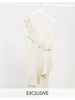 Lusso the Label exclusive ruffle boucle mini dress in cream and gold-multi