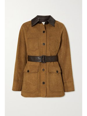LVIR belted faux leather-trimmed faux suede jacket