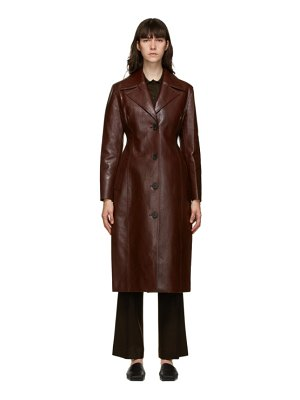 LVIR burgundy faux-leather single-breasted coat