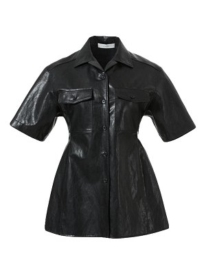 LVIR faux-leather collared shirt