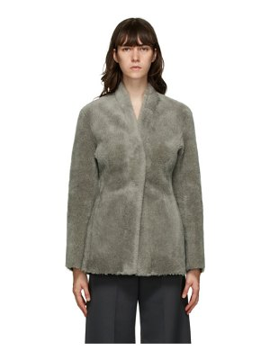 LVIR grey faux-shearling collarless mustang jacket