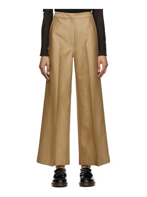 LVIR tan wide line trousers