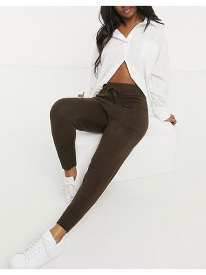 M Lounge cuffed sweatpants set with pockets-brown