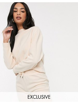 M Lounge high neck sweatshirt in fleece-pink