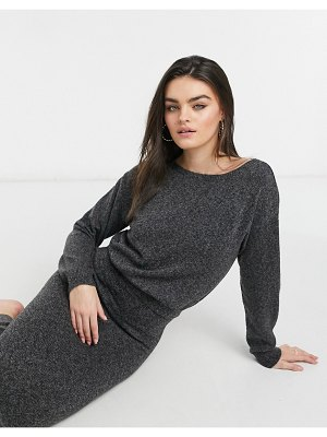 M Lounge knitted midaxi overlay dress-black