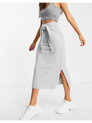 M Lounge knitted midi skirt with tie waist