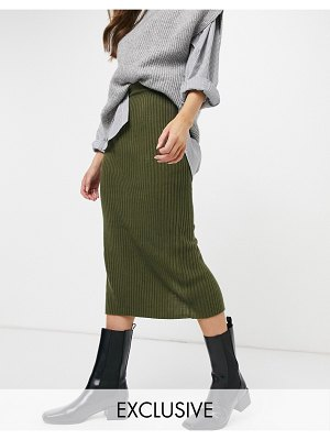 M Lounge knitted pencil skirt set-green