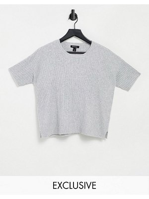 M Lounge knitted t-shirt in soft rib-grey