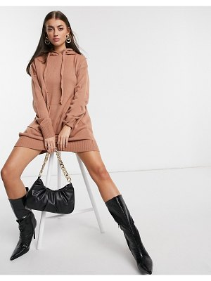 M Lounge mini knitted hoodie dress-pink