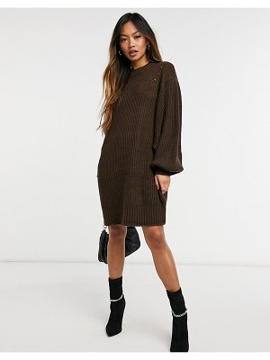 M Lounge relaxed knitted sweater dress-brown