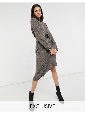 M Lounge relaxed maxi sweater dress set-brown