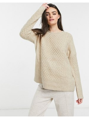 M Lounge relaxed sweater set in cable knit-beige