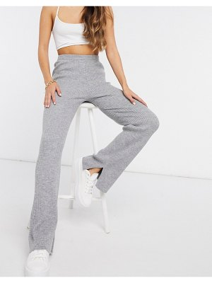 M Lounge relaxed wide leg pants in rib knit-gray