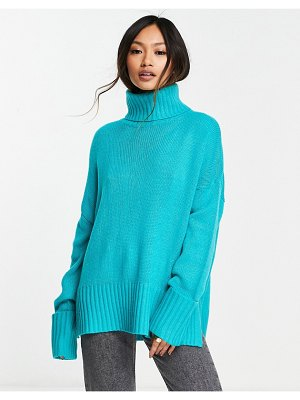 M Lounge set high neck sweater with turn up cuffs-green