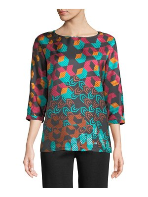 M Missoni 3/4-Sleeve Geometric Silk Top