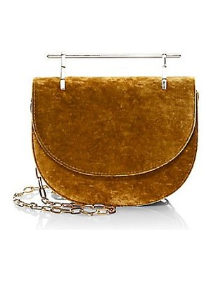 M2Malletier mini half moon silk velvet crossbody bag