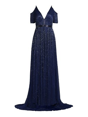 Mac Duggal beaded cold-shoulder gown