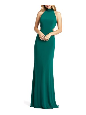 Mac Duggal bow back jersey trumpet gown