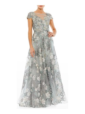Mac Duggal Floral-Embroidered Lace Cap-Sleeve Gown