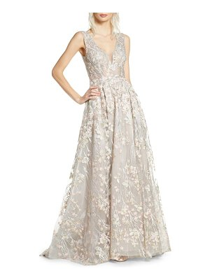 Mac Duggal floral embroidered v-neck gown