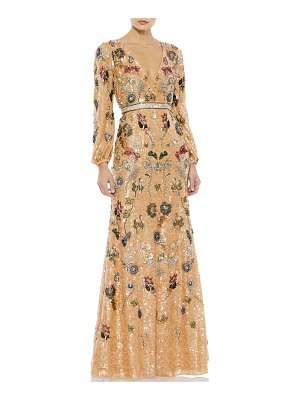 Mac Duggal Floral Sequin Long-Sleeve Gown
