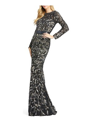 Mac Duggal Floral Sequin Long-Sleeve Illusion Gown