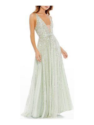 Mac Duggal Plunging Sequin A-Line Gown