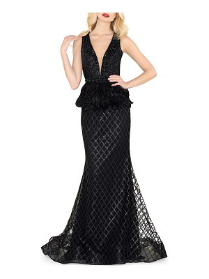 Mac Duggal Plunging V-Neck Trumpet Gown