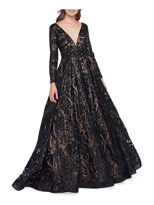 Mac Duggal Sequin Burnout Plunge-Neck Long-Sleeve Ball Gown