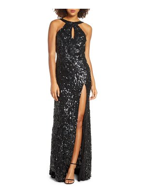 Mac Duggal sequin cowl back column gown