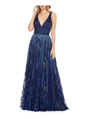 Mac Duggal Sequin Floral Beaded Sleeveless A-Line Gown