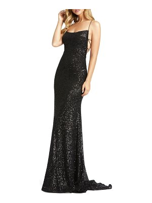Mac Duggal sequin strappy back gown