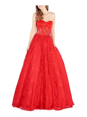 Mac Duggal Strapless Ball Gown with Corset Bodice & Lace Detailing